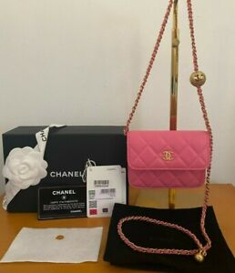 AUTHENTIC CHANEL Mini Flap Clutch with Pearl Crush Chain NIB SOLD OUT