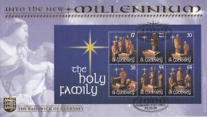 (69111) GB Guernsey Benham FDC GN13 Christmas Holy Family minisheet 2000