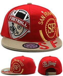 San Francisco New Leader Monster City Shield 49ers Red Gold Era Snapback Hat Cap