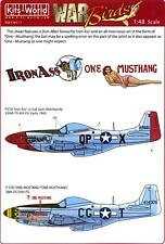 Kits World Decals 1/48 P-51 MUSTANG Fighter Iron Ass & One Mustang/One Musthang