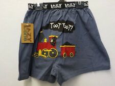 LAZY ONE BOYS LARGE 14-16 BLUE TRAIN TOOT TOOT BOXERS NWT #7824