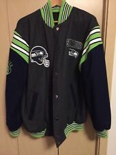 NFL SEATTLE SEAHAWKS Mens XL Wool Blend REVERSIBLE Varsity Jacket Apparel
