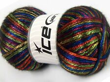 Lot of 4 x 100gr Skeins Ice Yarns UNIVERSE (19% Wool) Yarn Rainbow