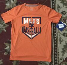 NEW YORK METS Big Boys Dri Tek T Shirt. Orange. Size Medium (10/12)