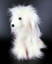 Purely Luxe Afghan Hound Stuffed Puppy Dog White Hair Pink Highlights Brand New