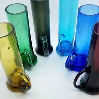 Colors Hand Blown Floral Etched Aperitif Sake Shot Glasses w/ Handles (6) KOREA