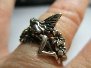 STERLING SILVER 925 ESTATE VINTAGE FAIRY TINKERBELL PIXIE FLOWERS RING SIZE 7.5