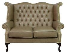 Chesterfield 2 places queen anne haut dossier canapé old english parchemin cuir bs