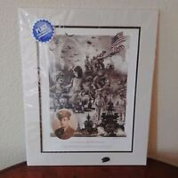 """""""A Nation Remembers"""" WW II Ray Simon Art Signed Lithograph Print Matted w/ COA"""