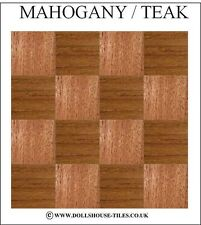 DOLLS HOUSE MINIATURES,WOODBLOCK FLOORING.WOOD FLOOR TILES. SF1. MAHOGANY / TEAK