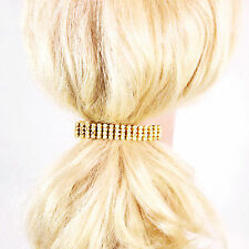 French Clip Hair Barrette Gold-Toned Covered with 64 White Rhinestones _09-1916