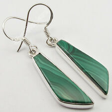 .925 Solid Silver Fancy GREEN MALACHITE Flat Stone TRENDY Modern Earrings 4.3 CM