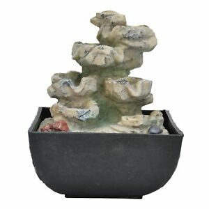 Fountain Ornament W/LED Light Home Office Tabletop Resin Feng Shui Decorat Cr AU