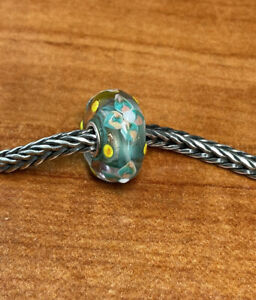 Authentic Trollbeads Unique Ooak Bead Multi-color Flower Glitter Base HTF New