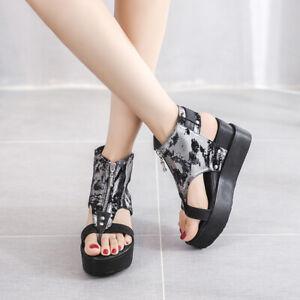 Womens Gothic High Wedge Platform Heels Flip Flops Zipper Front Creepers Sandals