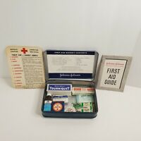 Vintage Metal Johnson And Johnson First Aid Autokit Contents Supplies Included