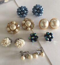 Lot Of 6 Women's Clipon Costume Earrings CLIP On Screw On Faux Pearl , Bead Etc!