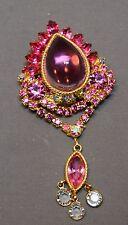 RARE & Breathtaking Pink Domed Cabochon Juliana D&E Brooch/Pendant w/Dangles