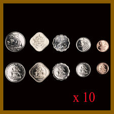 Bahamas 1 5 10 15 25 Cents (5 Pcs Coin Set) x 10 Pcs, 2005/10/15 Sea Star Fish