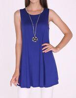 Women's Royal Blue Tank Top Sleeveless Solid Long Shirt Blouse SML/Plus Size