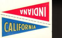 1960 Fleer College Pennant Decals INDIANA & CALIFORNIA Football Card