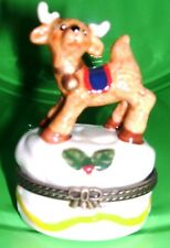 Young Reindeer-Porcelain Hinged-Box.Prancing!
