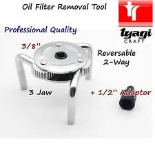 "Professional  Oil Filter Wrench 3/8"" 1/2"" Adaptor Socket Remover Tripod 2 jaw"