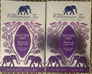 "Williamson Tea Duchess Grey  Tangy Tea  Lot of 2 - 50 Tea bag each ""Elephants"""