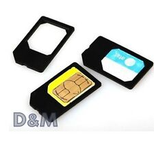 3Pz Adattatore Micro Sim Card per Samsung Apple iPhone Nokia