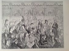 Los puestos, Covent Garden Opera, Gustave Dore 1872 Original Antigua de impresión de Londres