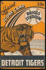 1938 DETROIT TIGERS Scorecard vs. YANKEES w/ LOU GEHRIG, DiMAGGIO, GREENBERG