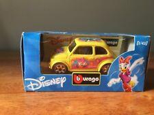 New Burago Disney Collection Daisy Duck Fiat 500 1/43 Yellow Diecast Bburago