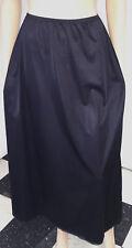 VTG Vanity Fair Black Sheer Nylon Long Formal Length Lacy Half Slip Lingerie S