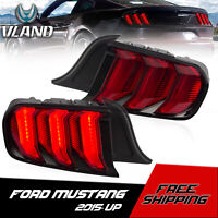 VLAND LED Tail Lights Red Sequential Lights For 2015-2020 Ford Mustang