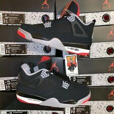 new arrival 3cb24 6bdf8 2019 NIKE AIR JORDAN 4 RETRO BRED OG 308497 060 BLACK RED GS   MEN Size