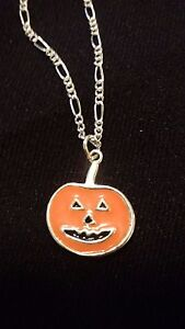One .925 Sterling Silver Jack Olantern & 18 inch .925 Sterling Silver Necklace