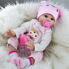 "Soft Body Silicone Vinyl Toddler 22"" Reborn Baby girl Doll Handmade toys gift US"