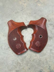Premium Solid wood Grips For S&W- J Frame revolver frame, round butt