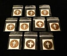 Wholesale Lot: Pendants / Charms - TEN Packaged CROSS PENNIES w God Bless You