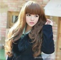Women Lady Girl Brown Fancy Party Function Wavy Curly Long Hair Full Wig Wigs