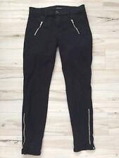 J Brand Black Cigarette Skinny Leg Silver Zipper Pant Jeans Women's Size 26