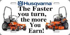 Husqvarna Zero Turn Metal License Plate 6x12 Landscaping Mowing Novelty Sign