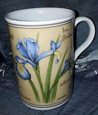 "CROWN TRENT FINE BONE CHINA MUG  4""  GERANIUM & IRIS BLUE FLOWERS VERY GOOD"