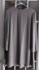 Ellen Tracy Chiffon Holiday Shift Dress Gray Long Sleeve Rhinestone Neck Size 6