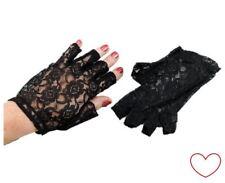Schwarz Spitzenhandschuhe Fingerlose Shorts Damen Erwachsene Kostüm Zubehör