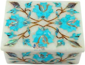 "3""x4""White Marble Turquoise gem stone jewelry box for birthday gift/wedding gift"