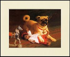 PUG NAUGHTY DOG AND TOYS LOVELY LITTLE DOG PRINT MOUNTED READY TO FRAME
