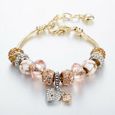 14K Champagne gold crystal heart love lock European Style Charms Bracelet