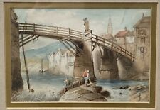"""SAMUEL PROUT (BRITISH, 1783-1852) WATERCOLOUR ON PAPER """"ON THE RIVER"""" SIGNED"""