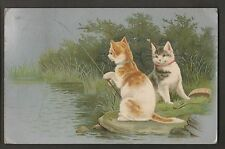 2 Cats Fishing 1907 Postcard